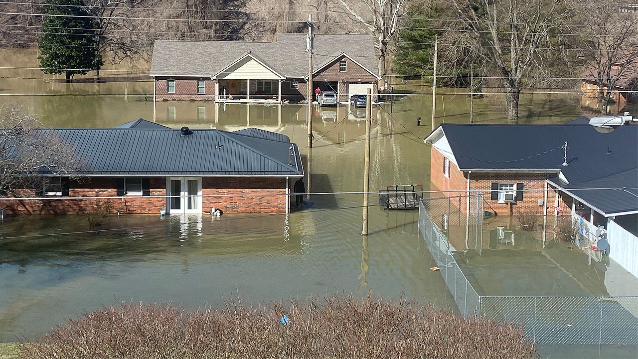 The city of Jackson in Breathitt County after the flooding there in March