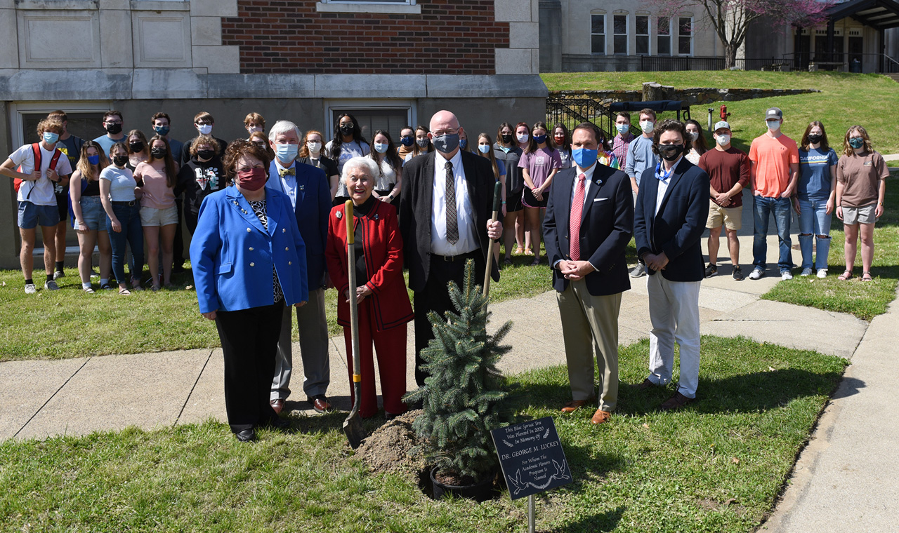 Speakers and guests at the tree planting ceremony for George